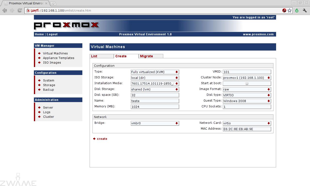 Proxmox VE: Cluster KVM/OpenVZ/DRBD sem Storage externa – Página 5